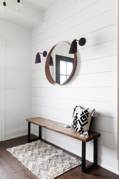 Eye-Catching Entryways That Make the Ultimate First Impression Pared-back with flanking sconces, IKEA mirror and wood bench.Pared-back with flanking sconces, IKEA mirror and wood bench. Wall Bench, Diy Wood Bench, Bench Decor, Hallway Bench, Wood Benches, Entry Bench, Small Entryway Bench, Entryway Mirror, Entryway Decor