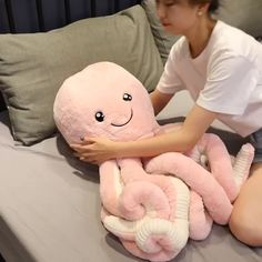 Squishy Toys Plush Octopus Pillow Fuzzy Kawaii Animal Pillow Stuffed Animal Plush Pillow Cute Toys This cute kawaii style octopus plush pillow is so hard to resist! It is so soft and cuddly, kids lo Homemade Stuffed Animals, Cute Stuffed Animals, Kawaii Plush, Cute Plush, Kids Pillows, Animal Pillows, Axolotl, Octopus Plush, Pusheen