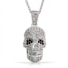 Bling Jewelry Black and White CZ Gothic Skull Pendant Necklace 18in