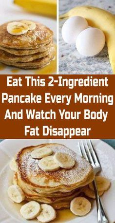 Easy Banana Pancakes - with just 2 ingredients and no flour. These healthy 2 ingredient banana pancakes are an easy breakfast idea. Banana Pancakes 2 Ingredients, 2 Ingredient Pancakes, Low Fat Breakfast, Healthy Breakfast Recipes, Healthy Snacks, Healthy Recipes Dinner Weightloss, Healthy Tips, Banana Recipes, Ww Recipes