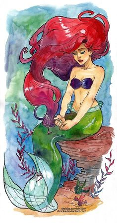 watercolor mermaid tattoos | ariel watercolor tattoo