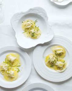 Crab Ravioli with Lemon Butter | Martha Stewart Living - These zesty melt-in-your-mouth ravioli combine a classic ricotta filling with lump crabmeat. The fresh acidity of lemon adds to the delicacy of this dish.