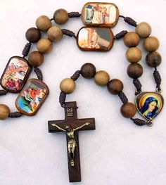 Wood Rosary Beads with Stations of the Cross...