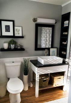 Bathroom Renovation Ideas: bathroom remodel cost, bathroom ideas for small bathrooms, small bathroom design ideas Grey Bathrooms Designs, Small White Bathrooms, Gray And White Bathroom, Beautiful Bathrooms, Bathroom Gray, Bathroom Small, Vanity Bathroom, Warm Bathroom, Ikea Bathroom
