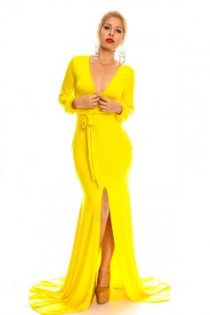 YELLOW LONG SLEEVE LOW FRONT  SLIT LONG MAXI DRESS #maxidress #yellowdress #sexydress #longsleevedress #slitmaxidress #sexymaxidress #womensexy