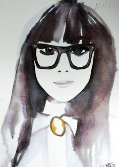 Fashion Illustration Portrait by Helen Simms