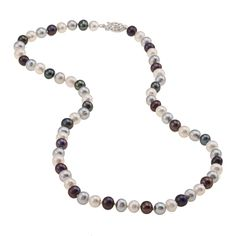 DaVonna Sterling Silver 6.5-7mm Dark Multi Freshwater Pearl Necklace