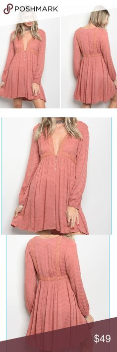 """Dusty Rose Blush Long Sleeve Deep V Neck Dress 100% Rayon lined thick long sleeved full lace deep v neck rose blush dress. super cute and gorgeous. perfect for cold or warm weather. empire waist gives super sexy unique look. Adorable and Unique. measurements: L: 34"""" B: 32"""" W: 30"""" C.C. Boutique Dresses"""