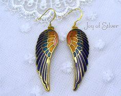 24k Vermeil Cloisonne Earrings Rainbow Bird's Pair of Wings earring dangles