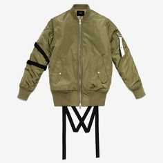Fatigue Olive nylon bomber jacket with poly fill, front flap pockets, and cotton ribbing at cuffs, collar, and waist. Nylon straps on right sleeve and rear waist. Zippered left arm pocket with black a Trendy Mens Fashion, Mens Fashion Week, Stylish Men, Brown Bomber Jacket, Nylon Bomber Jacket, Streetwear Fashion, Menswear, Street Style, Bullet Vest