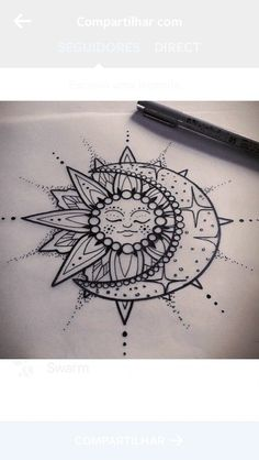 moon, mandala, tattoo, drawing, sun More