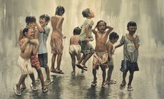 """When it rains in the Philippines, grown ups would run for cover. Kids on the other hand, think it's playtime and will try to get as wet as possible.BBC Boracay says: """" Just watching is already so much fun. Village Scene Drawing, Art Village, Human Figure Sketches, Figure Sketching, Watercolor Landscape, Watercolor Paintings, Friendship Photography, Composition Painting, Village Photography"""
