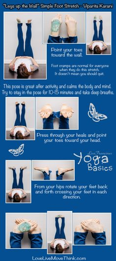 Legs up the Wall Simple Foot Stretch pose. Beginning Yoga, Foot Stretches, Wall Yoga, Legs Up The Wall, Stress Yoga, Workout Days, Workouts, Yoga Dance, Yoga Moves