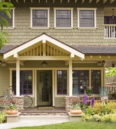 Olive green, cream, and an unexpected hue -- purple -- combine to make a charming, one-of-a-kind color palette that's right at home with the front-yard garden and landscaping: http://www.bhg.com/home-improvement/exteriors/curb-appeal/craftsman-style-home-ideas/?socsrc=bhgpin032314simpleporchmakeover&page=11
