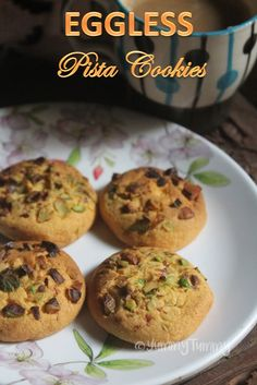 Delicious pistachio cookies which taste so delicious with a cup of tea or coffee. This is a crunchy eggless pista biscuit which is totally yum. Eggless Recipes, Eggless Baking, Easy Cookie Recipes, Baking Recipes, Snack Recipes, Snacks, Eggless Desserts, Cake Recipes, Dessert Recipes