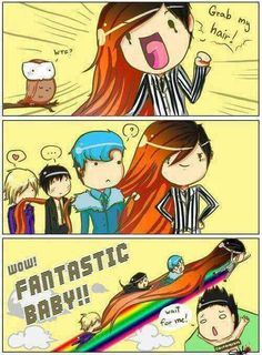 Wow, Fantastic Baby!! So now we know why his hair was that long! He's like a rainicorn!