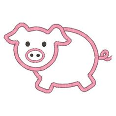Pig Applique Machine Embroidery Design. $3.00, via Etsy.