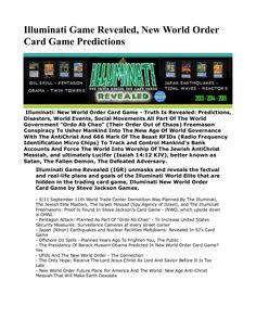 Illuminati Game Revealed, New World Order Card Game Predictions