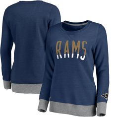6812489ae05 Women's NFL Pro Line Heathered Navy Los Angeles Rams Team Essentials  Latitude Clean Color Crew Neck Tri-Blend Sweatshirt