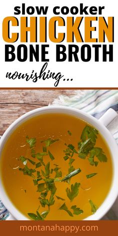 Slow Cooker Chicken Bone Broth | Crockpot Chicken Bone Broth Recipe is the perfect healing recipe that your body will love you for. How to make Chicken Bone Broth is going to give you the ingredients and hints on making the most nourishing soup you can. Why buy chicken stock from the grocery store when you can make your own nourishing broth? #chickenbonebroth #crockpotchickenbonebroth #chickenbonebrothrecipe #slowcookerchickenbonebroth #chickenbonebrothsoup #easychickenbonebroth