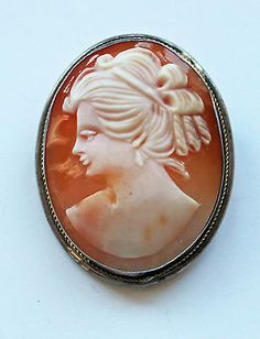 Antique Art Deco Silver Carved Portrait Shell Cameo Brooch/Pendant