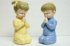 Vintage 1968 Praying Girl and Boy Ceramic by RetroScenee09 on Etsy, $18.00