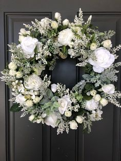 30 Most Beautiful Christmas White Wreath Ideas - Christmas Celebration - All about Christmas, Christmas is here and we have kick started our Christmas decoration on the peak. If you are also onto your Christmas decorations, then we have . White Wreath, Holiday Wreaths, Christmas Decorations, Winter Wreaths, Spring Wreaths, Wedding Wreaths, Grapevine Wreath, Willow Wreath, Tulle Wreath