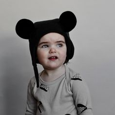 beau loves hat with mouse ears- inky black - heads - accessories | Thumbeline
