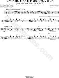 """Edvard Grieg """"In the Hall of the Mountain King"""" Sheet Music (Cello, Trombone, Bassoon, Baritone Horn or Double Bass) - Download & Print Anime Sheet Music, Cello Sheet Music, Saxophone Music, Violin, King Trombone, Cello Lessons, Basson, Music Stuff, Music Things"""