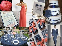 Coral + Navy Blue Wedding