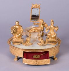 French Inkstand with Musical Mechanism | From a unique collection of antique and modern desk accessories at https://www.1stdibs.com/furniture/decorative-objects/desk-accessories/