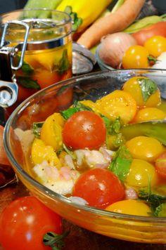 Marinated Farmers Market Tomatoes Summer Recipe from Platter Talk
