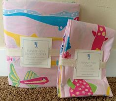POTTERY BARN KIDS FUNNY FISH PINK TWIN DUVET + SHAM NEW GIRL ROOM SURF OCEAN SEA  | eBay