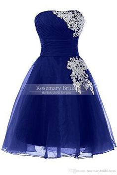 Summer Bridesmaid Dresses A Line 2016 Custom Made Strapless Royal Blue Chiffon Bridesmaid Dresses Plus Size Short Knee Length Homecoming Dress/Gown Party Dress Lace Vintage Style Bridesmaid Dresses From Rosemarybridaldress, $87.96  Dhgate.Com