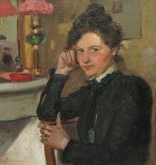Lizzy Ansingh, zelfportret bij spiegel.