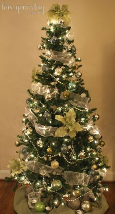 Silver, teal, green & white Christmas tree   via loveyourdaydesignsblog.com   The Little Things: Trees & Traditions
