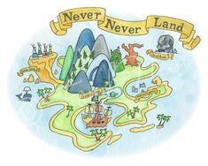 Peter Pan Never Neverland Map Watercolor Painting Art by FondNest