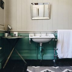Farrow and Ball paint colour 'Arsenic' in retro bathroom