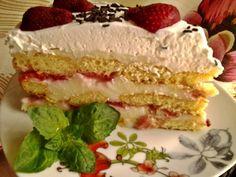 Tejszínes epertorta babapiskótából   Józsi konyhája Vanilla Cake, Tiramisu, Cheesecake, Food Porn, Baking, Cakes, Twitter, Cake Makers, Cheesecakes