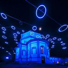 """""""Luci d'Artista"""" ( artist's lights) a Natale. by Rebecca Horn, :""""Piccoli Spiriti Blue"""" (""""Little blue spirits"""") alla Chiesa del Monte dei Cappuccini."""