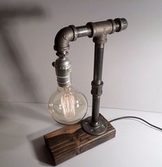 Globe Style Edison Bulb table lamp in Weathered - Antiqued finished wood base - Steam punk style light - New york loft industrial style