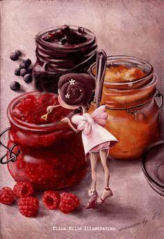 """Jam fairy"" by Elina Ellis Children's Book Illustration, Food Illustrations, Fairy Art, Whimsical Art, Cute Drawings, Beautiful Drawings, Cute Art, Food Art, Fantasy Art"