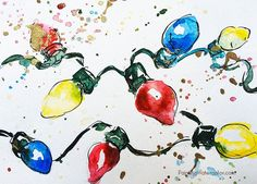 DIY Christmas Card light watercolor painting