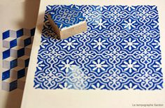 Inking-pad with cement tiles patterns Le Tampographe Sardon Stamp Printing, Printing On Fabric, Screen Printing, Eraser Stamp, Stamp Carving, Handmade Stamps, Tampons, Textile Prints, Print Patterns
