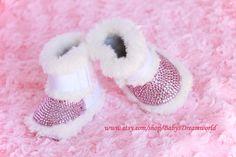 Baby  Swarovski rhinestones shoes, 6-12 month. $89.00, via Etsy.