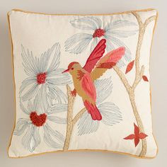One of my favorite discoveries at WorldMarket.com: Amber and Coral Hummingbird Throw Pillow