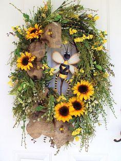 Door Wreath Spring Summer Primitive Bee Rustic by adoorableflorals, $109.99