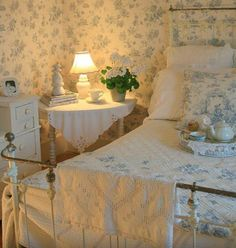 Cottage guest room ~ LOVE the soft blue and white.
