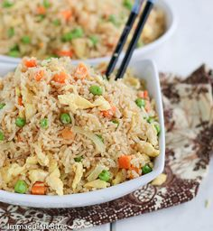 COCONUT FRIED RICE  ==INGREDIENTS== 1c rice 1c water 1-c coconut milk ½ -1T soy sauce ½-1T oyster sauce ½c of canola or vegetable oil 2 eggs lightly beaten ½ small onion sliced 1t minced garlic 1-cup peas and carrots ½T chicken bouillon powder ¼-½t of curry powder Salt and pepper to taste 2-3T of water or chicken stock (opt)         ===============