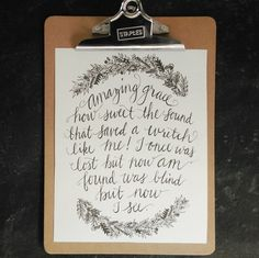 """Beautiful """"Amazing Grace"""" calligraphy print from InspiredLifeCo in Etsy"""